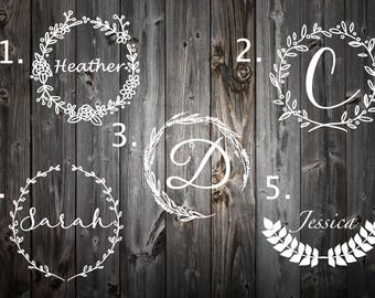Wreath Decal For Yeti | Wreath Decal For laptop | Decal for women | Lunchbox Decal | Tumbler Decal | Ozark Decal | Yeti Monogram Decal |