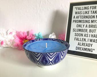 Lavender Scented Blue Bowl Candle-Decorative Candle
