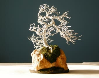 Silver root-over-rock wire bonsai tree, Wire Tree Sculpture, Wire Bonsai,