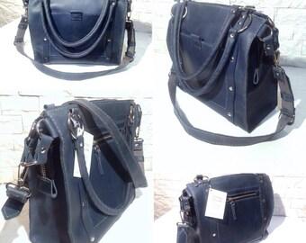 Handmade Square Leather Bag. Women Handbag Purse