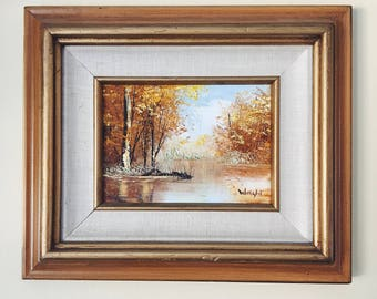 framed landscape painting / vintage art / original painting / neutral art / small painting / gallery wall