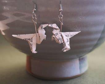 Origami Dinosaur Earrings-Origami Earring-Cute Dinosaur Jewelry- Paper Dinosaur Earring-Christmas Gift