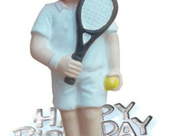 Resin Tennis Cake Topper Happy Birthday Sign Motto Decoration