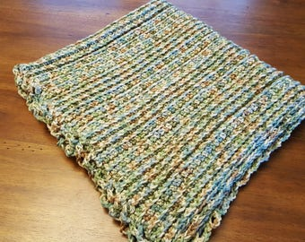 Hand Crocheted Baby Blanket is Baby Camoflouge themed . Great for Military or Outdoors Families. Shower gift. Cozy ribbed Acrylic Washable.
