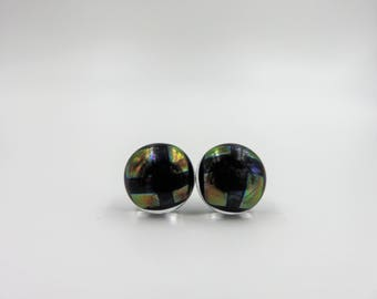 Green Holographic Stud Earrings, Dichroic Glass