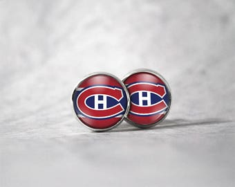 Earrings 12 mm cabochon / Hockey Montreal Canadiens