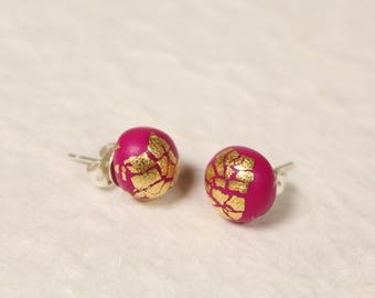 Rounded Magenta Gold Flaked Studs ~ Stylish Handcrafted Polymer Clay Earrings