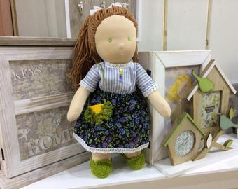 "Custom Waldorf doll - 14"" handmade doll made with natural materials"