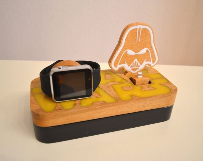 iphone charging station docking station Apple Watch charging station Apple Watch station stand IDOQQ edition Star Wars wooden Station gift