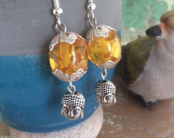 """""""Amber Buddha"""" in silver, with Pearl amber earrings"""