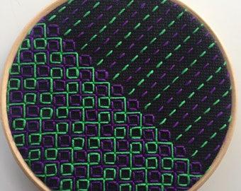 80s funk coloured emboridery hoop art, modern embroidered wall art, geometric embroidery, 5 inch hoop