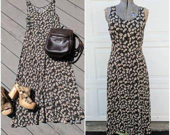 """90's Sunflower Grunge Maxi Dress, 30"""" Waist"""