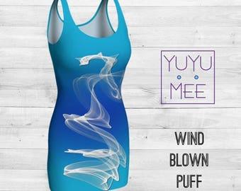 Wind Blown Puff Body Con Dress