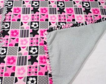 Pink Soccer Fleece Blanket