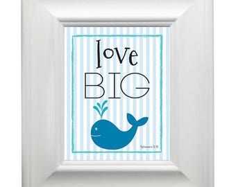 Blue Whale Love Big - Framed Art