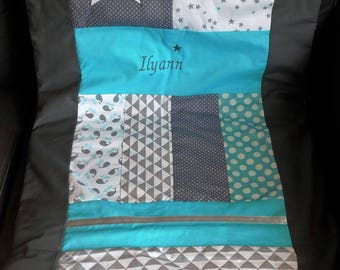 Beautiful blanket baby blanket with assortment of fabrics and embroidery of baby's name