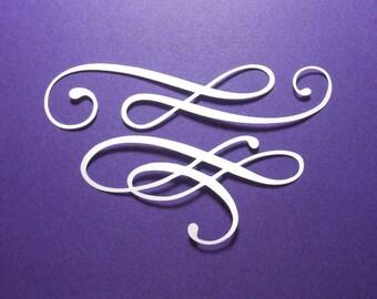 "16 Flourish Swirl Die Cuts 4 1/2"" & 3 1/2"" Wide (8 of each) White Cardstock Paper Embellishments, Scrapbooking, Card Making"