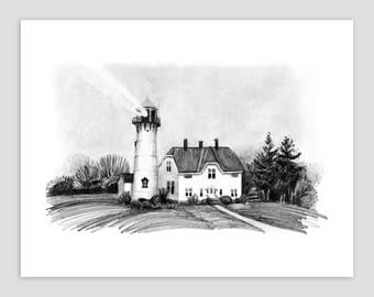 Lighthouse on a Foggy Day, Cape Cod – Fine Art Print of Original Pencil Drawing