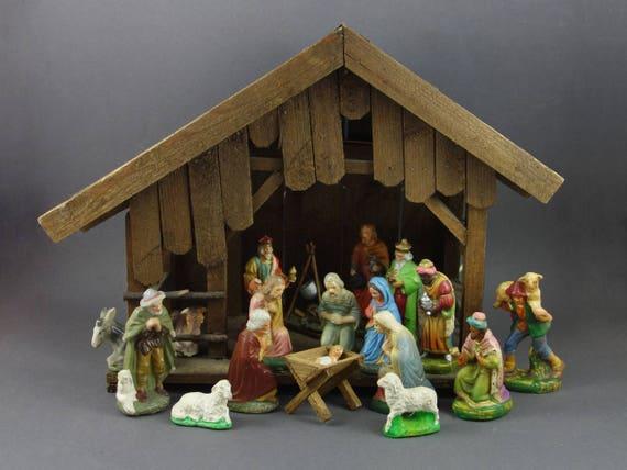 Antique German Nativity Christmas Scene