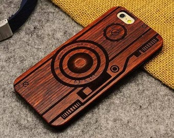 Iphone 5/6 7 case wood - wooden iphone 7 case walnut, cherry or bamboo wood - camera