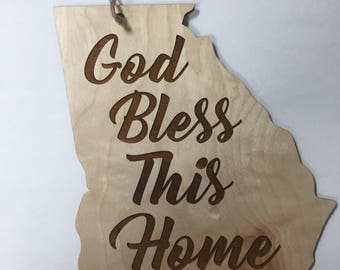 State God Bless This Home Door Hanger