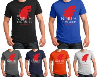 The North Remembers T Shirt A Game of Thrones GOT Stark Jon Snow Daenerys Wolf Birthday Halloween Christmas Xmas Men Tee Top Gift S-5XL