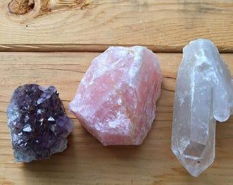 Raw Crystal Set/Amethyst crystal cluster/ Rose Quartz chunk/Quartz Point
