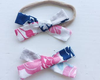 Emma Bow on headband or clip - colorful floral