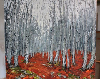 Original painting Forest art Landscape painting Autumn Orange art Grey art IMPRESSIONIST ART Fine art Mixed media on canvas by A. Onipchenko