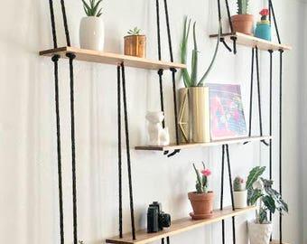 Black Rope Suspended Shelves