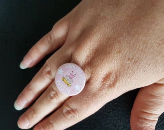 """Home tearing"" cabochon Adjustable ring"