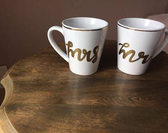 Gold Rimmed and Hand Lettered Mr and Mrs Mugs - the perfect gift for newlyweds!