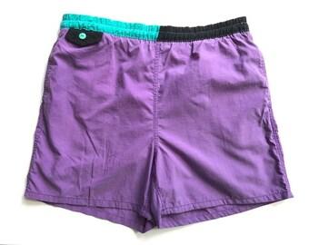 Block Colour Vintage Shorts 80's Purple