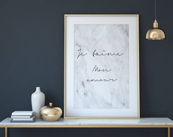 Je T'aime Print - Je T'aime Poster - Je t'aime Printable - Je t'aime marble