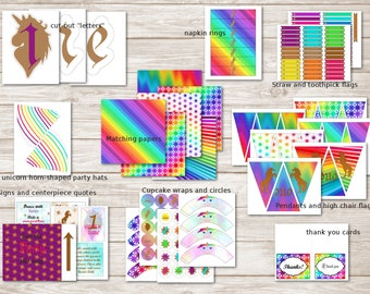 Rainbow Unicorn First (1st) Birthday Party Printable and Editable Mega Party Kit with decorations and food labels