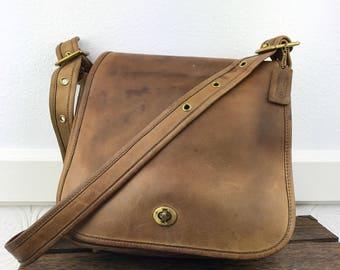 "1970's COACH ""Distressed Tan Leather Stewardess Satchel Crossbody Bag. Made in New York City"