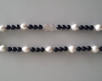 Baroque Pearl with Onyx Necklace