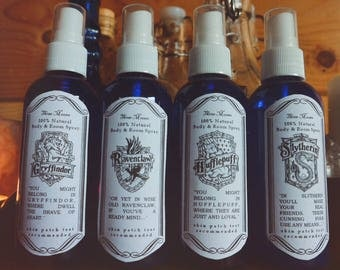 Harry Potter Collection: Hogwarts House Room & Body Potion 100 ml. (Gryffindor, Hufflepuff, Ravenclaw, Slytherin / Natural, Vegan, Organic)
