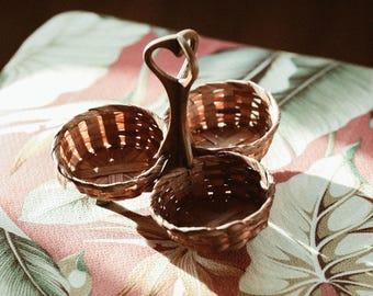 Vintage Basket Trio / Serving Basket / Sauce Basket / Accessory Basket