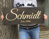 Personalized Wood Sign, Laser Cut Last Name, Family Name Sign