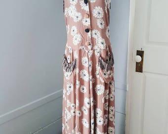 Vintage 90s grunge floral dress. 90s school teacher dress size L/XL