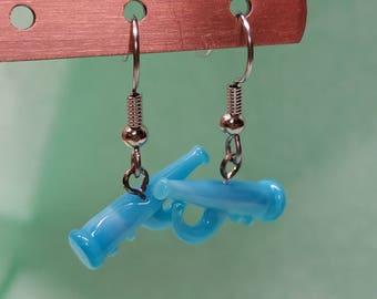 Blue Glass Trumpet Earrings