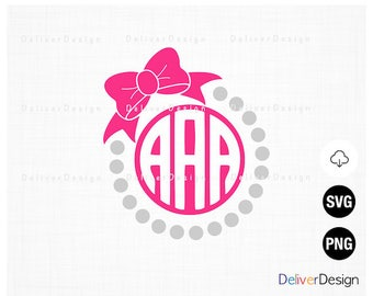 Pearl Bow Monogram SVG, PNG Files