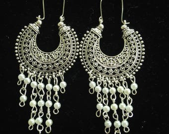 Oxidized Silver Jhumka Earring With White Pearl,Indian Bollywood Jhumka Earring,Fashion Jhumka Earring,Chandelier Jhumka,