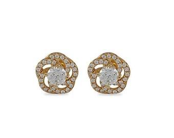 SALE Silver Stud Earrings, Silver Studs, Swarovski Sterling Silver Stud Earrings, Flower Swirl, Yellow, Pink, White