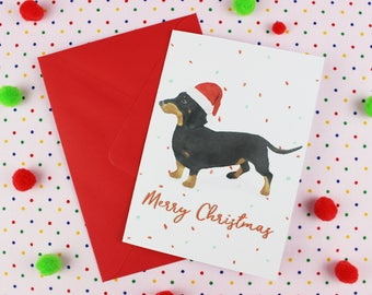 Dachshund xmas card / Dog christmas card / Sausage Dog card / Wiener dog card / Cute christmas card / Dachshund card / Sausage dog xmas card