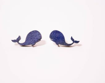 Dark blue whale earrings