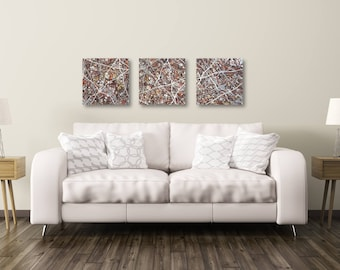 """18"""" x 18"""" abstract minis 'desert' drip art squares - step up your home decor with original small paintings"""