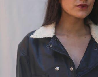 90s Cropped Faux Black Cropped Leather Biker Jacket