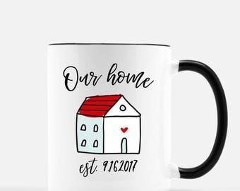 Our home est., housewarming gift, wedding gift, wedding mug, personalized wedding gift, wedding date, first home gift, watercolor mug